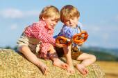 Two little sibling boys and friends sitting on hay stack  and ea — Stock Photo