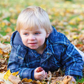 Cute little toddler child having fun with autumn foliage — Stock Photo