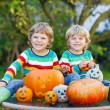Two little friends boys making jack-o-lantern for halloween in a — Stock Photo #56000025