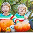Two little kid boys making jack-o-lantern for halloween in autum — Stock Photo #56001169