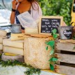 Selling and buying cheese  on market place in Provence, France. — Stock Photo #56425315