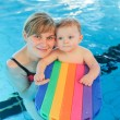 Little baby boy and his mother learning to swim in an indoor swi — Stock Photo #57123561