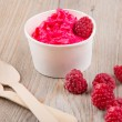 Frozen creamy ice yoghurt  with whole raspberries — Foto de Stock   #60636617