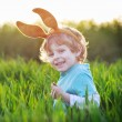 Funny boy of 3 years with Easter bunny ears, celebrating Easter — Stock Photo #60637985