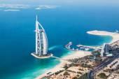 Dubai, UAE. Burj Al Arab from helicopter view — Stock Photo
