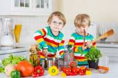 Two cute little brothers cooking italian soup and meal with fres — Stock Photo