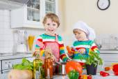 Two cute little children cooking italian soup and meal with fres — Stock Photo