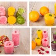 Collage of four fruit, berry and vegetables healthy smoothies — Stock Photo #60641043