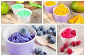 Collage of four different frozen creamy ice yoghurts — Stock Photo