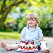 Little boy celebrating his birthday in home's garden with big ca — Stock Photo #62355083