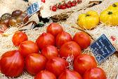 Organiczny świeżych pomidorów z Morza Śródziemnego targ w prz — Zdjęcie stockowe