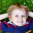Happy little blond boy with blue eyes laying on the grass — Stock Photo #63789495