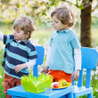 Two little boys playing and painting colorful egg — Stock Photo #63791021