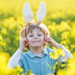 Funny kid of 3 years with Easter bunny ears, celebrating Easter — Stock Photo #63791065