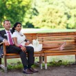 Beautiful indian bride and caucasian groom after wedding ceremon — Stock Photo #69549081
