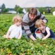 Father and two little boys on organic strawberry farm — Stock Photo #70485203