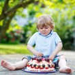 Little boy celebrating his birthday in home's garden with big ca — Stock Photo #70485377