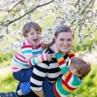 Young mother and two little twins boys having fun in blooming ga — Stock Photo #74094167