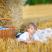 Little boy of 3 years having picnic on yellow hay field in summe — Stock Photo