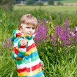 Little blond boy with lot of wild flowers — Stock Photo #75871771