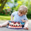 Little boy celebrating his birthday in home's garden with big ca — Stock Photo #75873257