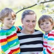 Young mother and two little twins boys having fun in blooming ga — Stock Photo #78448666