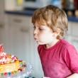 Kid boy celebrating his birthday and blowing candles on cake — Stock Photo #78452960