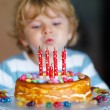 Kid boy celebrating his birthday and blowing candles on cake — Stock Photo #78454764