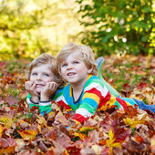 Two little kid boys laying in autumn leaves in colorful clothing — Stock Photo