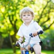 Little preschool kid boy riding with bicycle in summer — Stock Photo #79444334