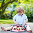 Little boy celebrating his birthday in home's garden with big ca — Stock Photo #82051548