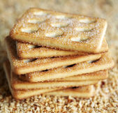Stack of sugar cookies on chopped nuts, selective focus — Stock Photo