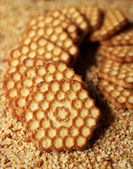 Stack of honeyed cookies, selective focus — Stock Photo