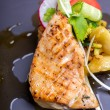 Grilled salmon fish steak with vegetable salad — Stock Photo #60005005