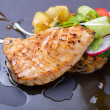 Grilled salmon fish steak with vegetable salad — Stock Photo #60005361