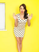 Attractive Young woman Wearing a Short Polka Dot Mini Dress — Stock Photo