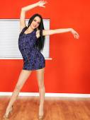Attractive Young Woman Dancing Alone — Stock Photo