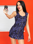 Young Woman Taking Self Portraits — Stock Photo