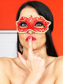 Topless Young Woman Wearing a Mask — Stock Photo