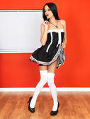 Sexy Young Woman in French Maids Costume — Stock Photo