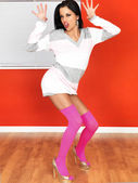 Sexy Young Pin Up Woman Wearing Jumper and Pink Knee Socks — Stock Photo
