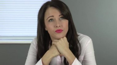 Thoughtful Young Woman — Stock Video