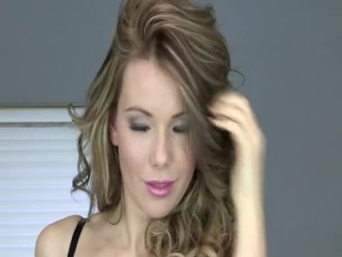 Sensual Young Woman Playing With Her Hair — Stock Video