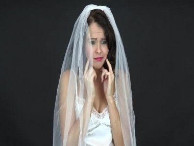 Frightened Scared Young Bride — Stock Video