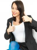 Happy Business Woman Giving Thumbs Up — Stock Photo