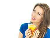 Young Woman Drinking Orange Juice — Stock Photo
