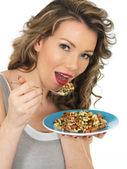 Young Woman Eating a Mixed Bean Salad — Stock Photo