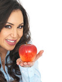 Young Woman Holding a Red Apple — Stock Photo