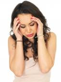 Stressed Worried Young Woman — Stock Photo