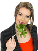 Young Business Woman Eating Mixed Leaves Salad — Stockfoto